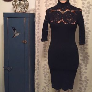 Bebe Black Stretch Dress W/Crochet Top Size M/L